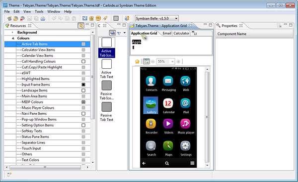 تم ساز حرفه ای موبایل های نوکیا، Carbide.ui Symbian Theme Edition 4.3