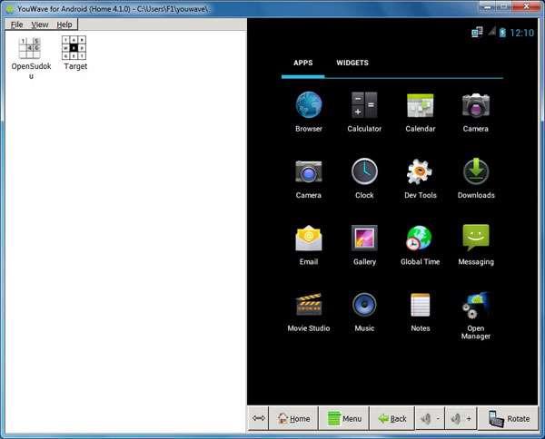 اجرای برنامه های اندروید در رایانه، YouWave for Android 3.1.0