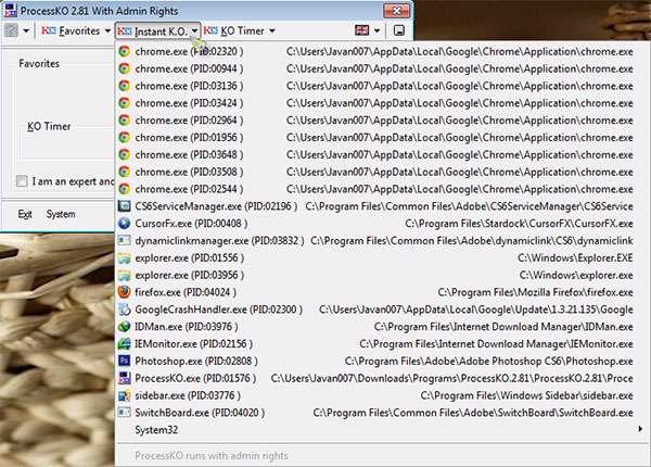 توقف کامل پردازش های ناموفق، ProcessKO 2.81