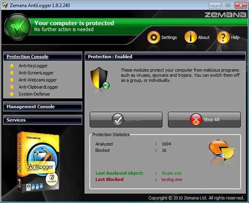دانلود Zemana AntiLogger 1.9.3.527 برای افزایش امنیت و کنترل سیستم