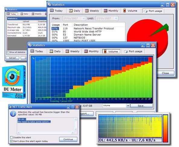 مدیریت مصرف پهنای باند اینترنت، DU Meter 6.20 Build 4628