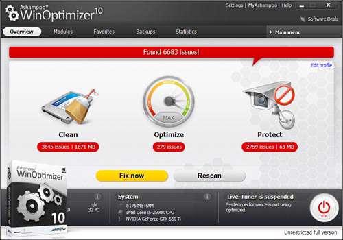 بهینه سازی ویندوز به همراه نسخه قابل حمل، 2013 + Ashampoo WinOptimizer 10.01.00