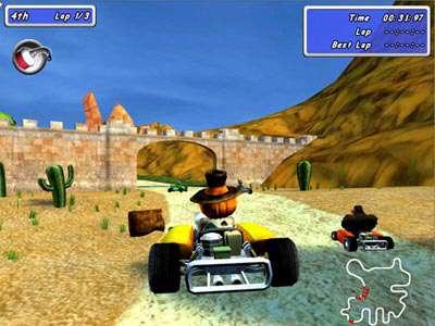 بازی جوجه خروس دیوانه در مسابقات ماشینسواری، Moorhuhn Kart 2