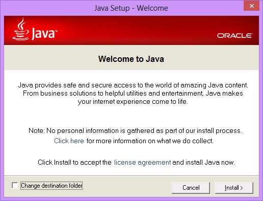 اجرای جاوا در محیط ویندوز، Java Runtime Environment 7.0.21
