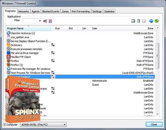 کنترل فایروال ویندوز سون، Windows 7 Firewall Control 5.2.15.14