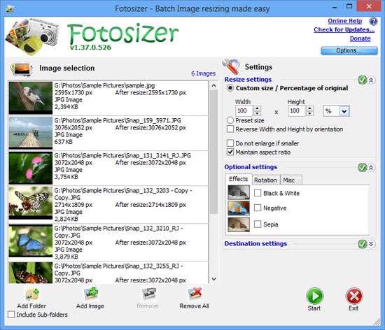 تغییر اندازه تصاویر با کمترین افت کیفیت، FotoSizer 2.00.0.529 Final