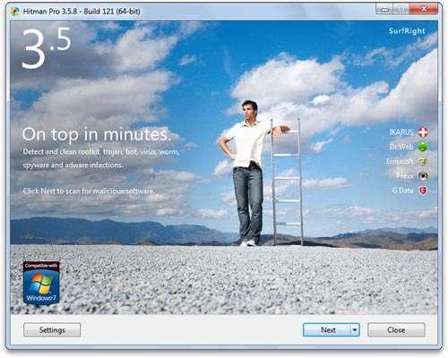 حذف قدرتمند بدافزارهای جاسوسی و مخرب، Hitman Pro 3.7.3 Build 193