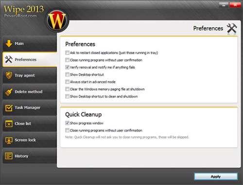 پاکسازی فایل های زاید برای همیشه، Wipe 2013 PRO Build 54