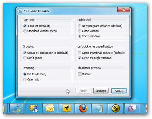 مدیریت تسکبار ویندوز، Taskbar Tweaker 4.2.1
