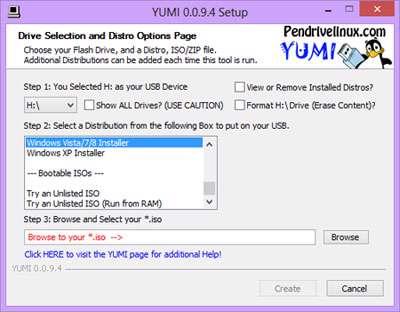 بوت و نصب سیستم عامل از طریق یو اس بی، YUMI 0.0.9.4