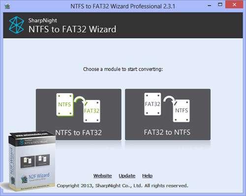 تبدیل NTFS به FAT و بالعکس بدون حذف اطلاعات، NTFS to FAT32 Wizard Pro 2.3.1