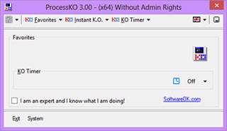 توقف کامل پردازش های ناموفق، ProcessKO 3.00