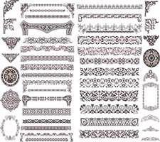 وکتور لایه باز طرح های تزیینی گوشه و حاشیه کاغذ