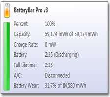 مشاهده و مدیریت وضعیت باتری لپ تاپ، BatteryBar Pro 3.6.1