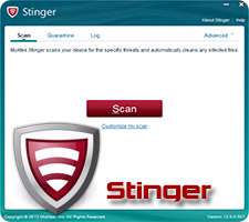 شناسایی و حذف ویروس ها، McAfee Stinger 12.0.0.587