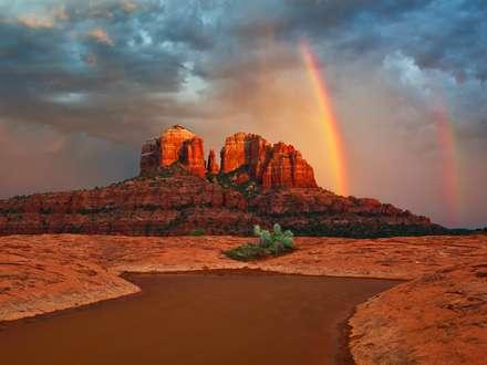 رنگین کمان آسمان ابری صخره بزرگ