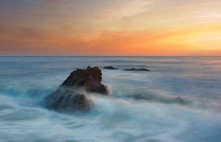غروب آرام دریا
