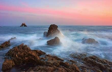 غروب آسمان دریا