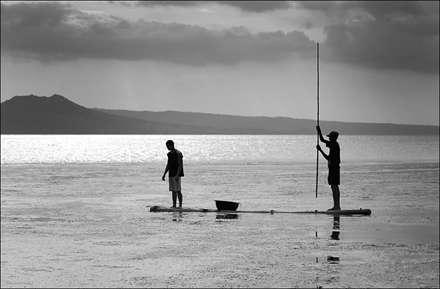 ماهیگیری در دریاچه کم عمق