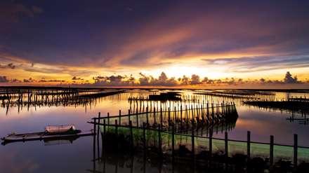 غروب، دریاچه، آسمان