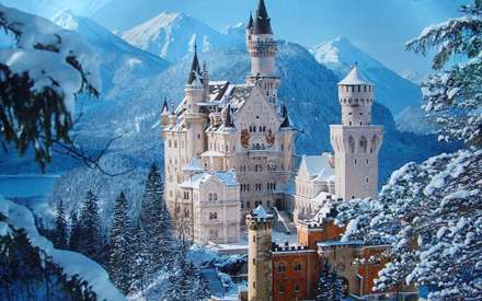عمارت، کاخ، برف، زمستان، درخت