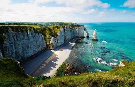 زیبا، آبی، صخره، شن و ماسه، دریا، آب، سفید