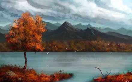 کوه، منظره، درخت، پاییز، دریاچه