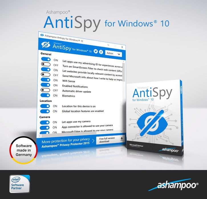 دانلود برنامه کنترل میزان حجم مصرفی اینترنت در ویندوز ده Ashampoo Antispy for Windows 10 v1.0.5.5