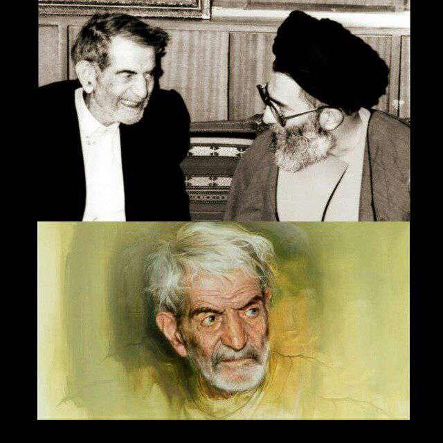 عکس،شاعر،استاد،سید محمد حسین شهریار،تبریزی،رهبر معظم،خامنه ای