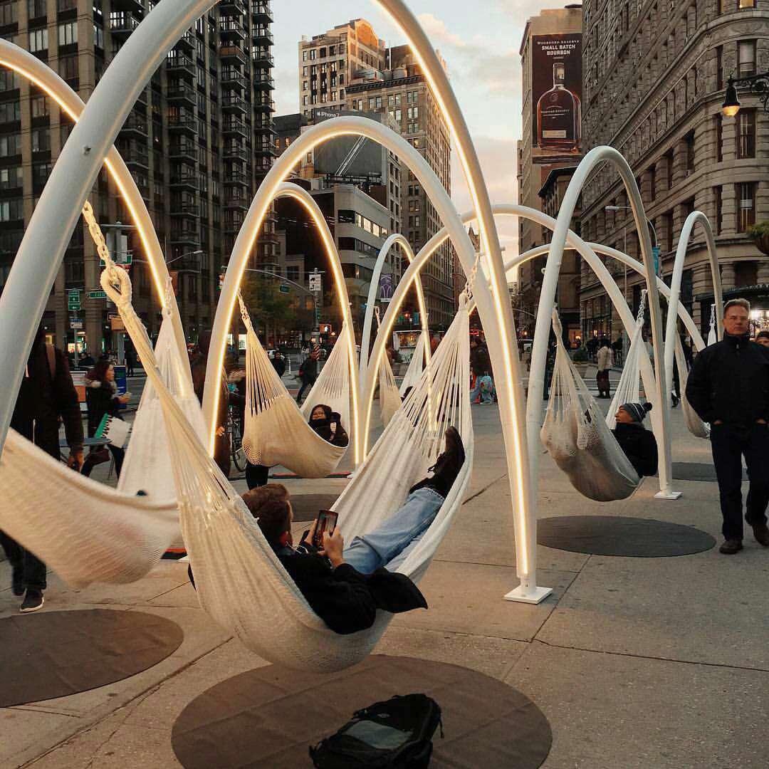 نیویورک، استراحت عابر، پیاده، خلاقیت، شهری، خواب