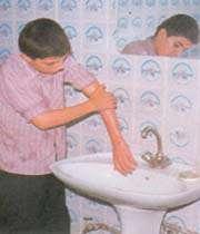 شستن دستها تا آرنج