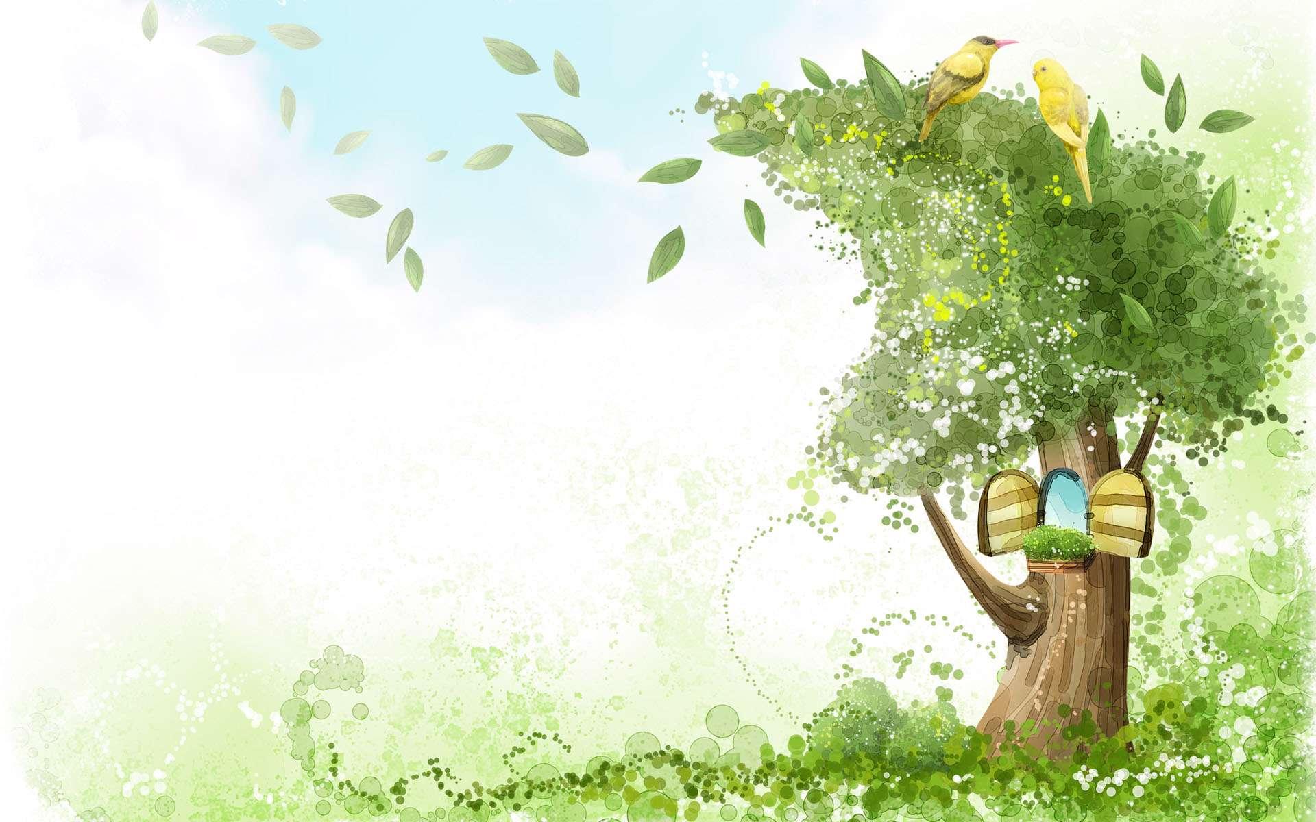 کادر نقاشی نقاشي ديجيتالي از دو پرنده زيبا روي درختي سبز گنجینه ...