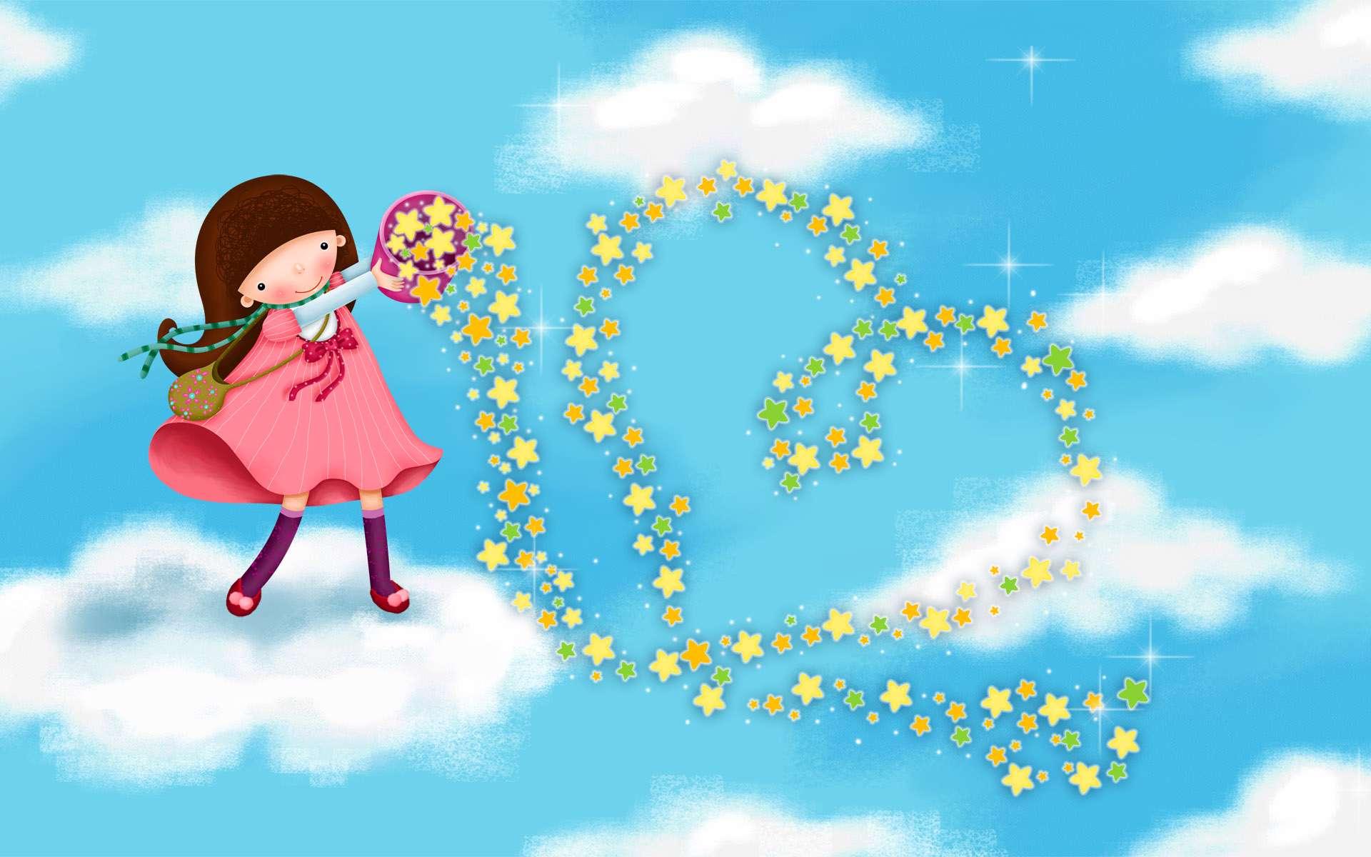 نقاشی دیجیتالی دختری در حال کشیدن قلب با ستاره های رنگی ...