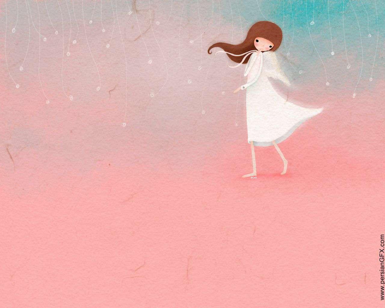 نقاشی کودکانه در مورد فرشته ها