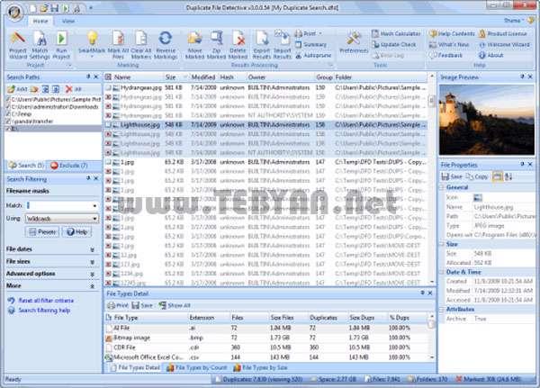 پاکسازی و حذف فایل های تکراری، Duplicate File Detective 6.1.62