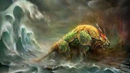 نقاشی اژدها و دریا