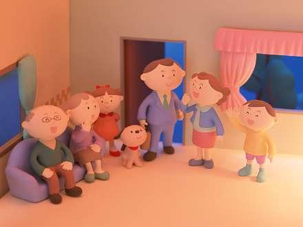 خانواده، عروسک، کارتون، Family, cartoon, Doll