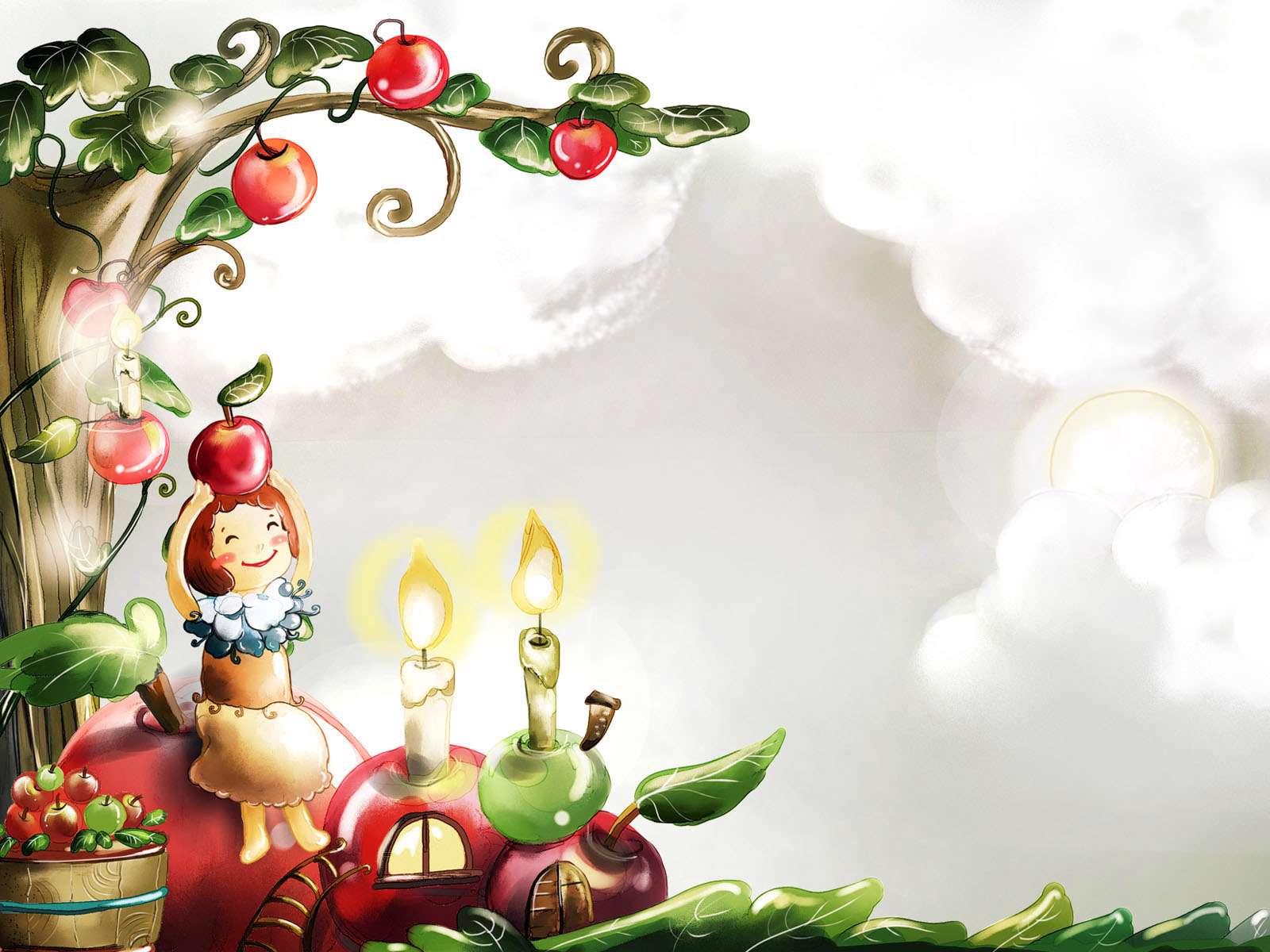 نقاشی سبد سیب نقاشی تخیلی درخت سیب گنجینه تصاویر تبيان