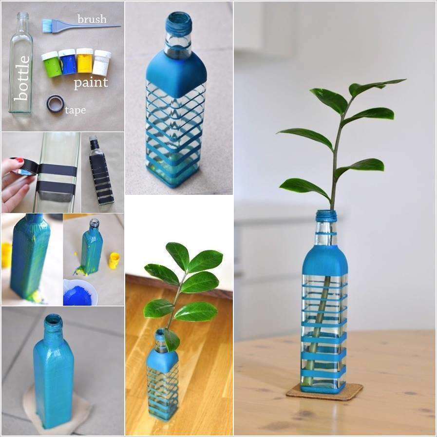 با بطری های خالی گلدان بسازیم