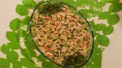 اسپاگتی با قارچ و لوبیا سفید