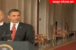سوتی در هنگام سخنرانی اوباما