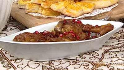 مرغ کبابی با سس انار