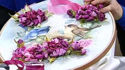 ترکیب گل روبانی و نقاشی ـ خانم امیریان