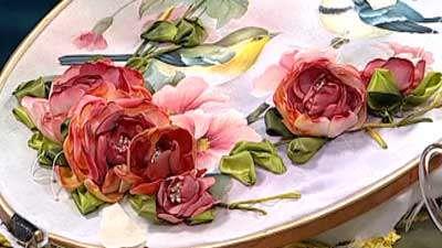 ترکیب گل روبانی و نقاشی (2) ـ خانم امیریان