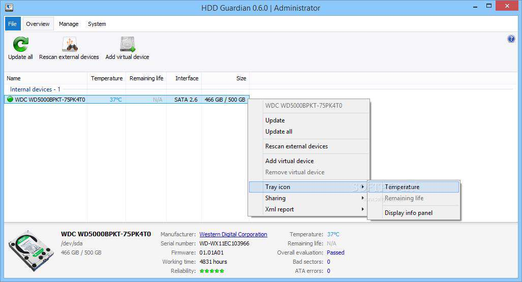 دانلود برنامه بررسی سلامت هارد دیسک  HDD Guardian 0.6.2