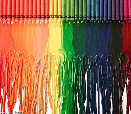 تابلو نقاشی خلاقانه با مداد شمعی های رنگی