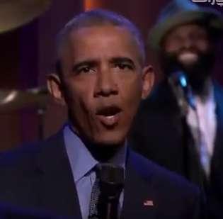 خوانندگی باراک اوباما در برنامه طنز تلویزیونی