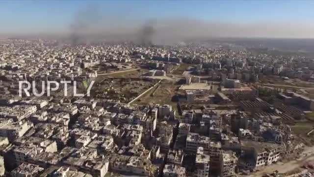 تصاویر خروج تروریستها از حلب از دید هلیشات روسی