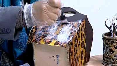 دکوپاژ دستمال کاغذی پلنگی