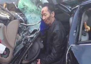 زنده ماندن عجیب راننده در یک تصادف